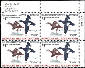 RW36 Mint,OG,NH... Plate Block of 4... SCV $275.00