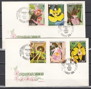 Cuba, Scott cat. 2328-2333. Orchids issue on 2 First day covers. ^