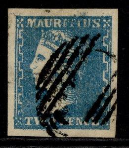 MAURITIUS QV SG44, 2d pale blue, FINE USED. Cat £900.