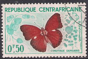 Republique Centra fricaine 0.50f Butterflies used  ( D1489 )