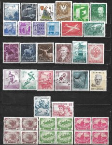 COLLECTION LOT OF 38 AUSTRIA 1948+ MH STAMPS UNCLUDING 3 1915 BLOCK OF 4
