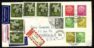 Germany Sc  702a/708a on 1962 Paquebot Cover to US