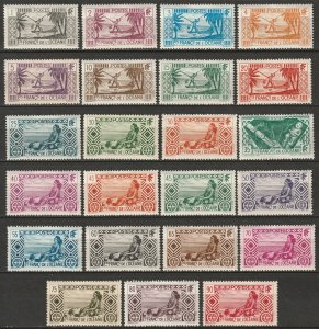 French Polynesia 1934-40 Sc 80-102 set low values MH* some disturbed gum