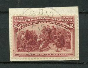 UNITED STATES $2 COLUMBIAN VIBRANT COLORS  SCOTT#197 USED ON PIECE