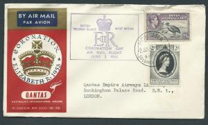 GB 1953 Coronation Flight Cover Honduras to London -  air...