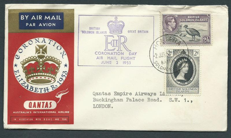 GB 1953 Coronation Flight Cover Honduras to London -  air...