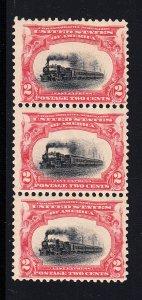 #295 Fine OG NH  strip of 3. Top stamp free!