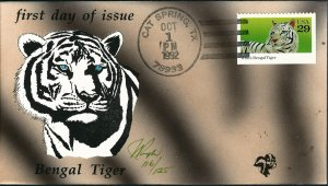 Beautiful Pugh Designed and Painted Bengal Tiger FDC -only 125 created...