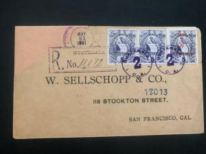 1901 Guatemala Registered Commercial cover to San Francisco CA USA