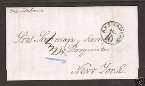Puerto Rico 1868 Stampless SFL, NY Steamship, fresh & clean