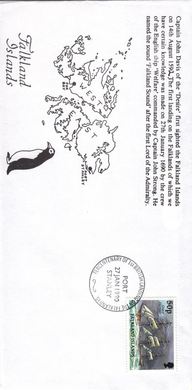 1990, Falkland Islands: Ship-Grace Hawar, FDC (S18801