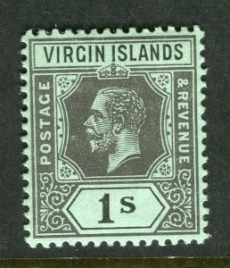 BRITISH VIRGIN ISL; 1912 early GV issue fine Mint hinged 1s. value