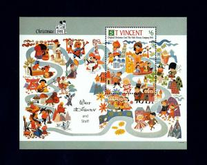 ST VINCENT - 1991 - DISNEY - MICKEY MOUSE - CHRISTMAS CARD - MINT - MNH S/SHEET!