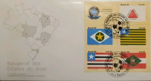 A) 1984, BRAZIL, FLAGS OF THE STATES OF BRAZIL, FDC, MINAS GERAIS, MATO GROSSO,