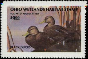 OHIO #09 1990  STATE DUCK STAMP BLACK DUCKS by Jon Henson