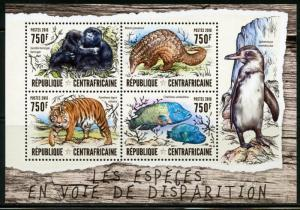 CENTRAL AFRICA   2016 ENDANGERED SPECIES SHEET  MINT NH