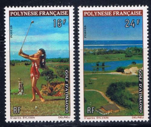 French Polynesia 275-76 Lightly Hinged 1974 Golf Course