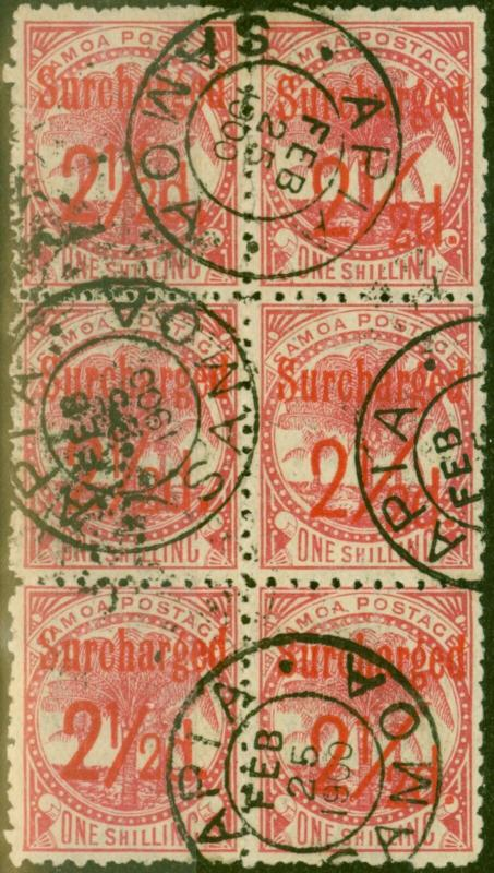 Samoa 1898 2 1/2d on 1s Dull Rose-Carmine SG85 Fine Used Block of 6