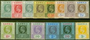 Gambia 1909 set of 14 SG72-85 V.F Very Lightly Mtd Mint