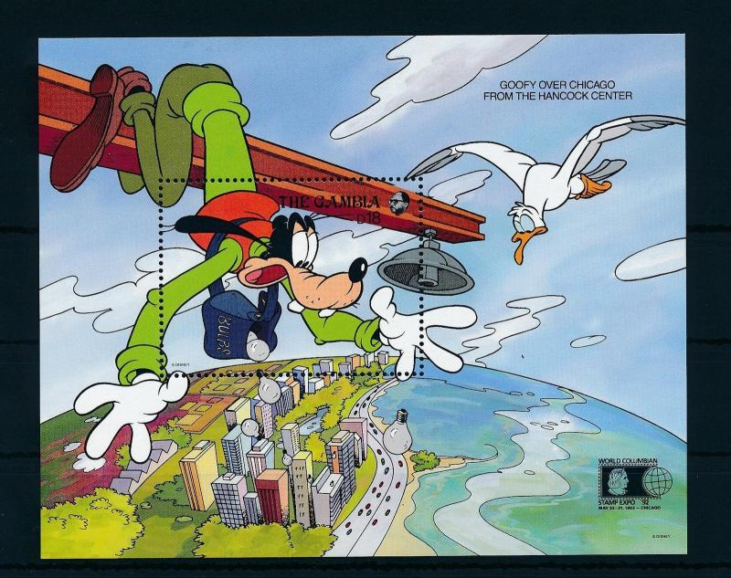 [22378] Gambia 1992 Disney Goofy Above Chicago Bird Seagull MNH