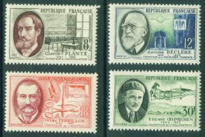 FRANCE Scott 821-4 Yvert 1095-8 MH* 1957 stamp set
