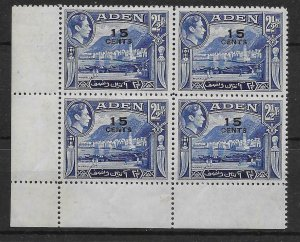 ADEN SG38a 1951 15c ON 2½a OVPT DOUBLE VARIETY BLK OF 4  MNH