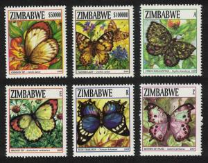 Zimbabwe Butterflies 6v 3rd issue SG#1234-1239