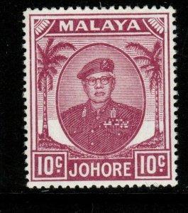 MALAYA JOHORE SG139 1949 10c MAGENTA MTD MINT