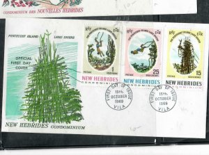 NEW HEBRIDES  COVER (P2112B) 1969 SET CACHETED FDC  UNADDRESSED