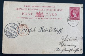 1895 Dominica Leeward Island Stationery Postcard cover To Lubeck Germany