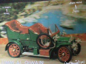 QIWAIN STAMP - LOVELY CLASSIC ANTIQUE CAR- AIRMAIL-LARGE 3-D STAMP MNH #7