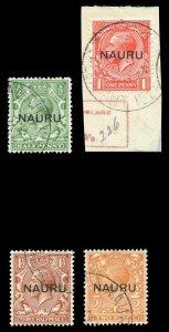 Nauru 1916 KGV set complete very fine used. SG 13-16. Sc 1a-4b.