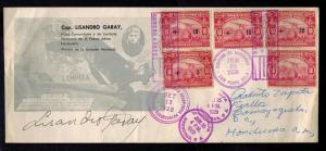1929 San Pedro Sula Honduras Cover Signed Flown by Captain Lisandro Garay Pilot