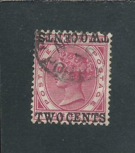 MAURITIUS 1891 2c on 4c CARMINE SURCHARGE DOUBLE, ONE INVERTED FU SG 118c