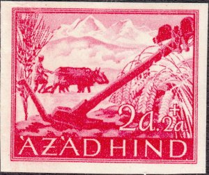 Stamp Germany India Mi 02 1943 WW2 3rd Reich Azad Hind Army Legion ImPerf MNG