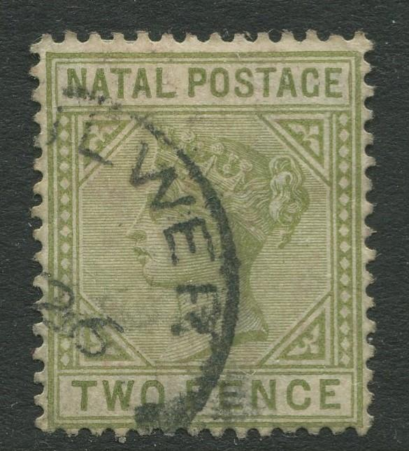 NATAL - Scott 74a - QV Definitive - 1887 - Used - Wmk 2 - Perf.14 - 2p Stamp