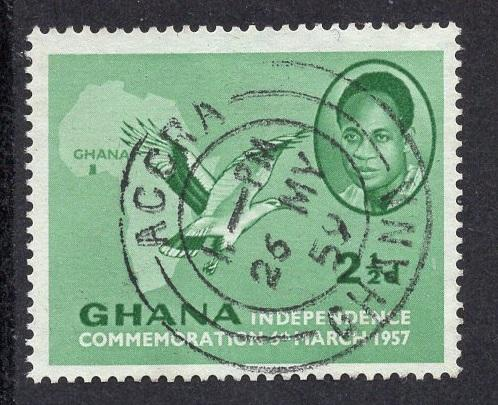 Ghana   #4  1957  used  2 1/2d.. independence