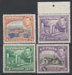 CYPRUS 1938 KGVI PICTORIAL 1/4PI TO 3/4PI