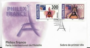 COSTA RICA 1999 PHILEX FRANCE INTERNATIONAL FAIR ORCHIDS FLOWERS FDC