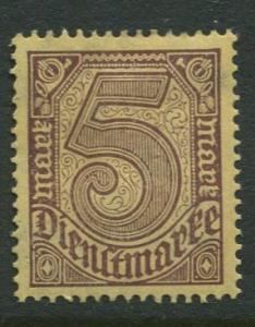 GERMANY. -Scott O13 - Officials -1920 -MLH  - Single 5m Stamp