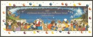 CHRISTMAS ISLAND Sc# 212 MNH FVFSouv Sheet Santa Claus Xmas Reindeer Star