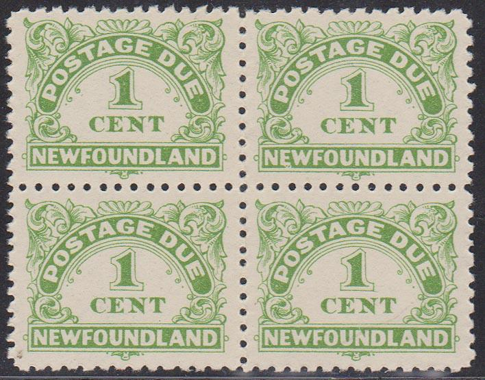 Newfoundland - #J1a 1939 1c Postage Due Perf 10-10 1/2 Block of 4 F+-VF NH