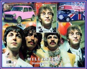 Chad 1999 The Beatles/Mini/London Bus/London 2000 Souvenir Sheet Perforated MNH