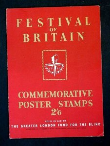 1951 Festival of Britain Folder + Original Stamp Sheet Fund for the Blind RRR