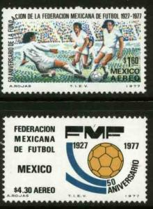 MEXICO C534-C535, 50th Anniversary Soccer Federation. MINT, NH. VF.
