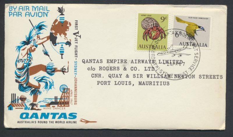 1967 Qantas First Flight Cover - Sydney Mauritius  AAMC 1600a  SPECIAL - plea...