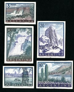 Argentina Stamps # 638-42 XF Cardboard Proof Set of 5