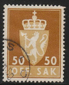 Stamp Norway Official Sc O074 1955 Dienst Coat Arms Used
