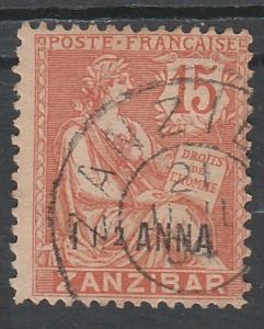 FRENCH PO IN ZANZIBAR 1902 MOUCHON 11/2A ON 15C USED