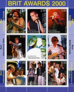 Tajikistan 2000 Brit awards 2000 Sheet Perforated Mint (NH)
